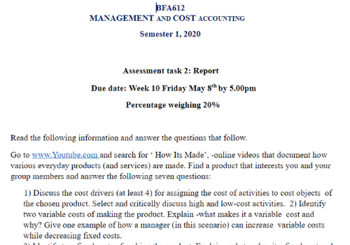 Cost accounting Assignment Sample