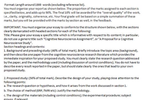 Neuroscience assignment sample