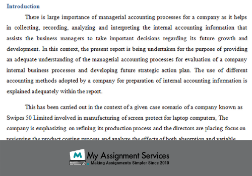 Managerial accounting assignment help - introduction